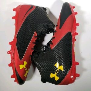 Under Armour Red Black Nitro Mid Football Cleats